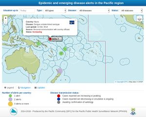 Interactive map of epidemic and emerging disease alerts in the Pacific